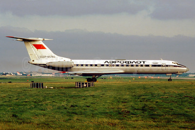 Aeroflot Russian International Airlines Tupolev Tu-134A-3 CCCP-65783 (msn 62783) LGW (SM Fitzwilliams Collection). Image: 913824.