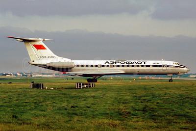 Aeroflot Russian International Airlines Tupolev Tu-134A-3 CCCP-65783 (msn 62783) LGW (SM Fitzwilliams Collection). Image: 913824.