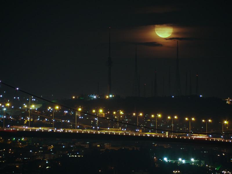Moonrise over Bosphorus Bridge, Istanbul