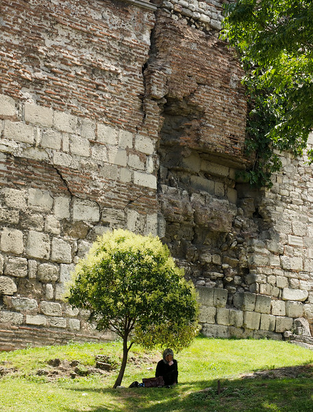 Street scene near Chora Church and Roman wall, Istanbul