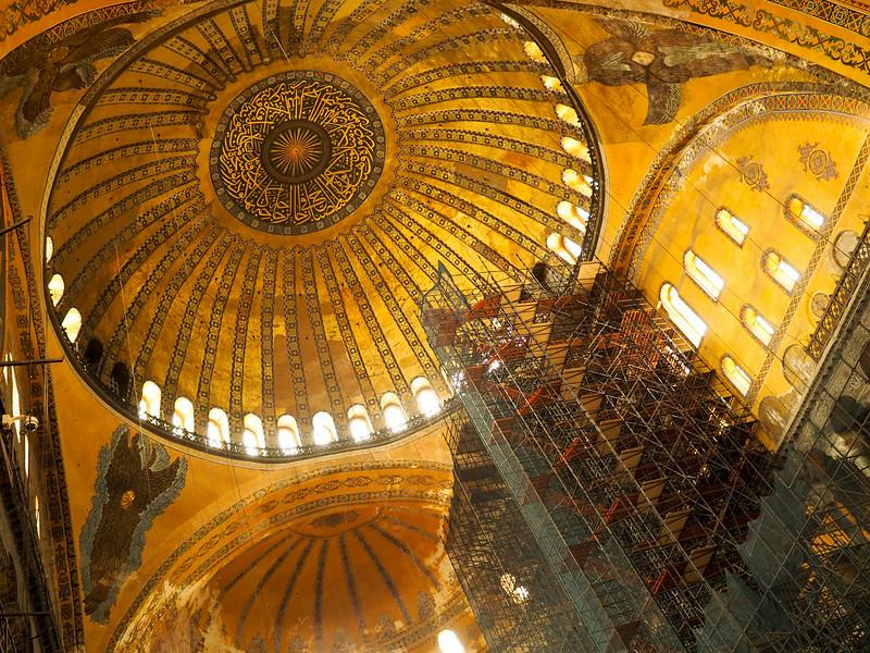 Hagia Sophia main dome, interior restoration