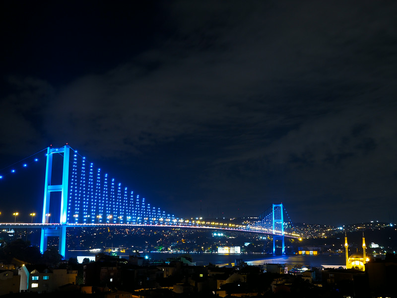 Bosphorous bridge lit up at night, Istanbul