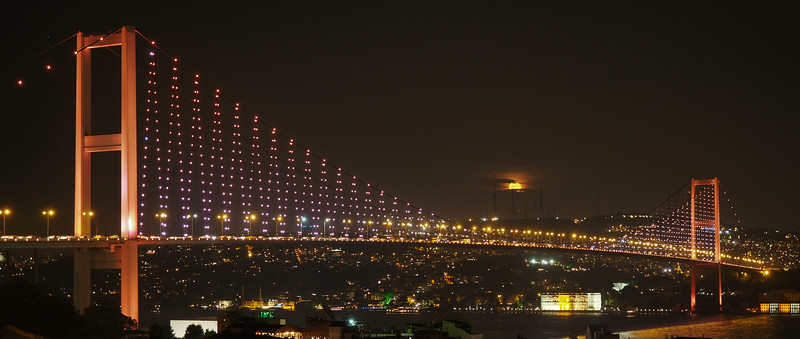 Moonrise over the Bosphorous Bridge, Istanbul