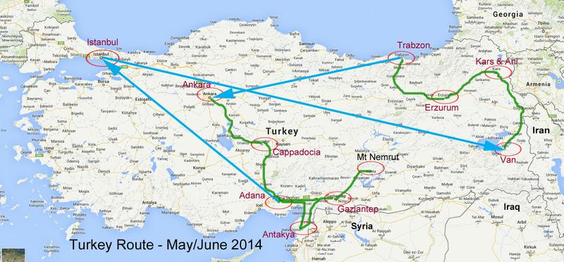 Turkey Sacred Lands & Ancient Civilizations Route Map