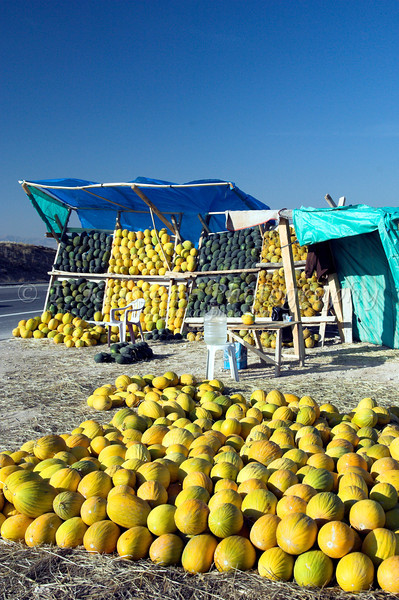 A roadside melon stand near Polatli, Turkey, Eurasia.
