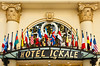 Hotel Ickale, an international Hotel with flags sign in Ankara, Turkey, Eurasia.