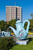 A large mosaic teapot at an interesction in Ankara, Turkey, Eurasia.