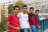 Four young men pose for a picture on a bridge in Ankara, Turkey, Eurasia.