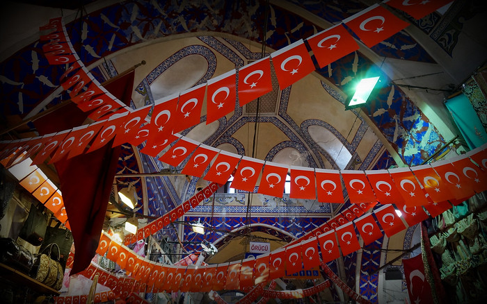 Turkish flags inside the Grand Bazaar in Istanbul, Turkey.