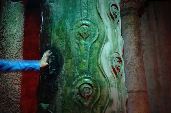 The tear drop column inside the Basilica Cistern in Istanbul, Turkey.