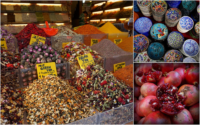 Tea, spices, pomegranates and souvenirs at the Grand Bazaar in Istanbul.