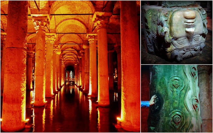 Going underground at the Basilica Cistern in Istanbul.