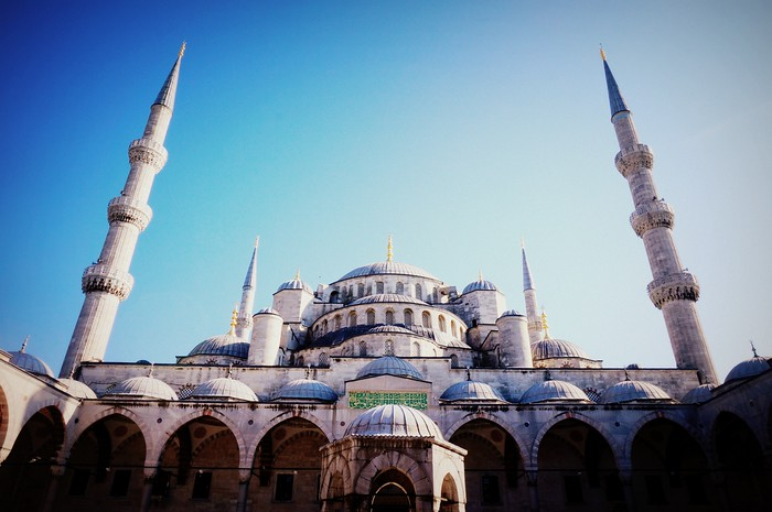 The Blue Mosque and blue skies in Istanbul, Turkey.