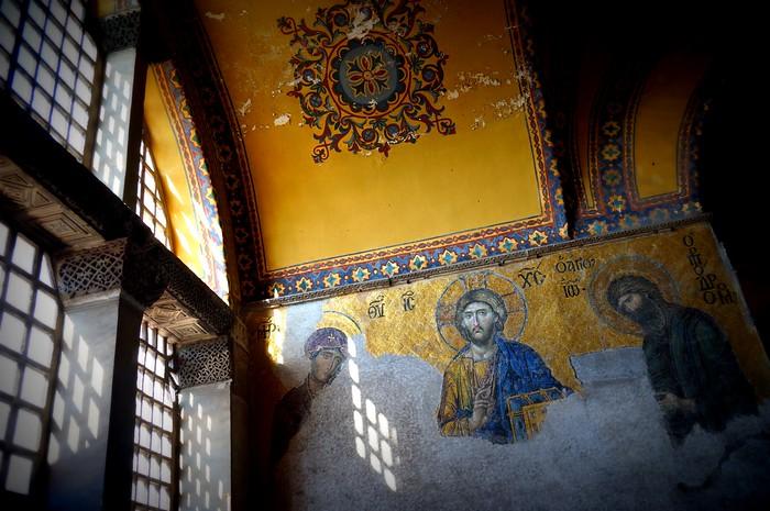 The mosaics inside Hagia Sofia, Istanbul.