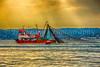 A fishing trawler in the Bosphorus near Istanbul, Turkey.