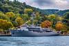 A Turkish Naval vessel docked in the Bosphorus near Istanbul, Turkey.