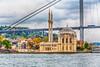 The Ortakoy mosque and Bosphorus Bridge near Istanbul, Turkey.