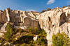 Caves carved in the rock with underground cities in Cappadocia, Turkey, Eurasia.