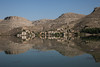 Village reflected, Euphrates, Gaziantep, Turkey