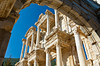 The restored ruins of the Celsus Library at the Ephesus archaeological site in Turkey, Eurasia.
