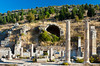 Restored Basilica columns and bath ruins at the Ephesus archaeological site in Turkey, Eurasia.