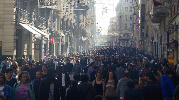 Istiklal Avenue full of pedestrians in Istanbul, Turkey
