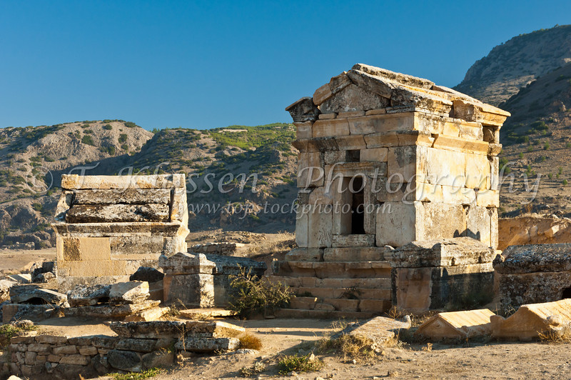 Tombs on the Necropolis at Hierapolis, Turkey, Eurasia.