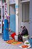 A woman shopping at a street market in Isparta, Turkey, Eurasia.