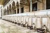 A long row of ablution fountains at the Süleymaniye Mosque in Istanbul, Turkey, Eurasia.