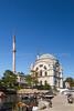 The Dolmabahçe or Molla Celebi Mosque overlooking the Bosphorus Strait in Istanbul, Turkey, Eurasia.
