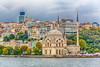The Ortaköy Mosque and city skyline near the Bosphorus Bridge in Istanbul, Turkey, Eurasia.