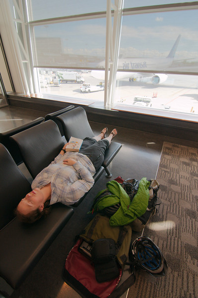 Having a nap in the Montreal airport, waiting for the flight to Istanbul