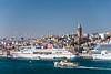 The Karakoy cruise ship port with the Galata Tower in Istanbul, Turkey, Eurasia.