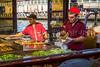 Food preparation at an Eminonu Pier floating fish restaurant in Istanbul, Turkey, Eurasia.