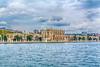 The Dolmabahçe Palace as seen from the Bosphorus strait near Istanbul, Turkey, Eurasia.