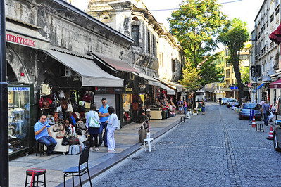 Istanbul Side Street with Shops