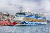 The cruise ship Aida docked in Istanbul, Turkey, Eurasia.