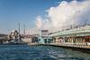 The Galata Bridge with fish restaurants in Istanbul, turkey, Eurasia.