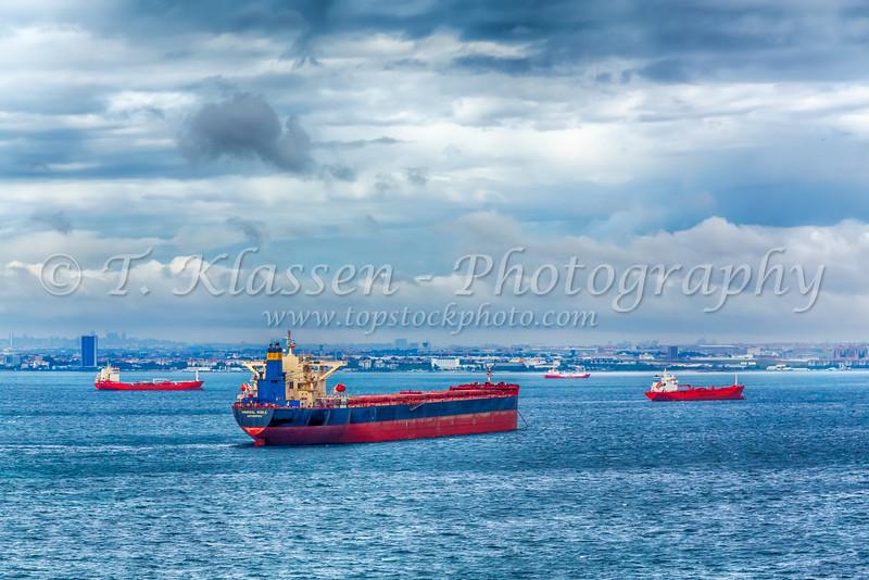 Shipping in the Bosphorus near Istanbul, Turkey, Eurasia.