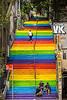 Colorful rainbow stairs in the  Findikli and Cihangir neighborhoods in Istanbul, turkey, Eurasia.