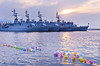 Balloons in the water and Turkish naval vessels in Izmir, Turkey, Eurasia.