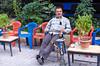 A man smoking a waterpipe in Izmir, Turkey, Eurasia.
