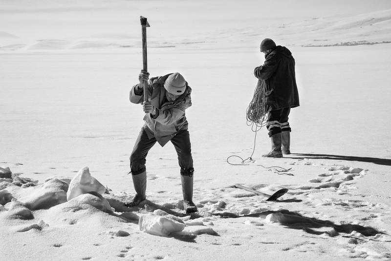 Ice fishing, Çildir Gölü, Kars, Turkey