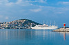 The port with ships and boats in Kusadasi, Turkey, Eurasia.