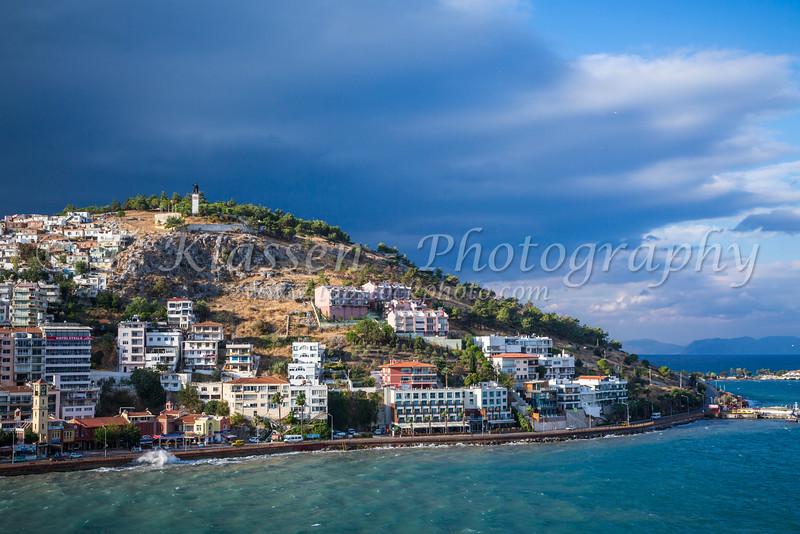 A hillside of homes and hotels in Kusadasi, Turkey, Eurasia.