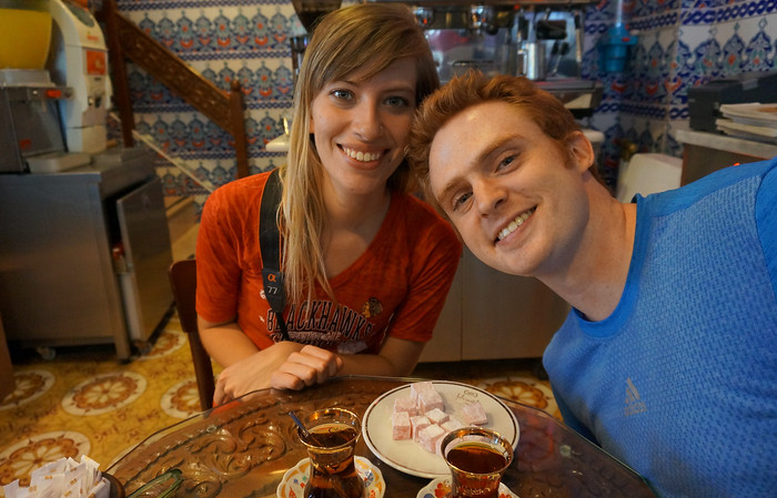 Sam and Audrey having Turkish delight in Istanbul, Turkey