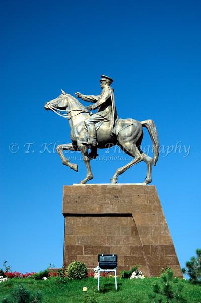 Ataturk on horse monument near the city of Sivrihisar, Turkey.