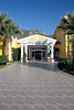 Front entrance to the Hierapolis Thermal Resort Hotel in Karahayit near Hierapolis, Turkey.