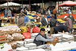 Selling eggs in the street market of Pergamum, Turkey.