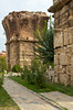 Large pillars remain at the site of the former Christian church at Philadelphia, Turkey, Eurasia.